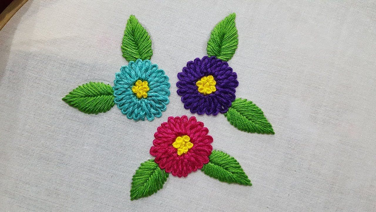 Simple Hand Embroidery Flowers   Flix It